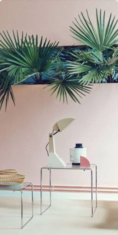 Pink and Green Interiors | Miami inspired interiors | Tropical wall art | palm leaf wall | Inspiration for Livingetc Topics decorating feature | March 2016