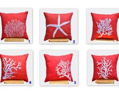 Coral Pillow Covers, Throw Pillow Cover, Set of 2, Orange Pillow ,White Coral Embroidery, Nautical, Coastal, CHOOSE THE DESIGN