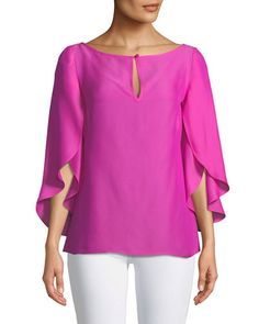 Papillon Keyhole Ruffle-Sleeve Blouse Source by Brown Jacket Outfit, Sleeves Designs For Dresses, Fashion Mode, Style Fashion, Tops For Leggings, Cutaway, Ruffle Sleeve, Blouse Designs, Blouses For Women