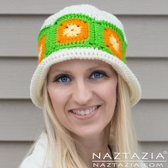 Crochet Citrus Splash Hat - Granny Square Beanie - Free Pattern and YouTube Tutorial Video - by Donna Wolfe from Naztazia and Collaboration with Crystal from Bag O Day Crochet and More