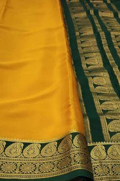 Yellow Handloom Mysore Crep... Yellow Fabric, Silk Fabric, Woven Fabric, Crepe Silk Sarees, Silk Crepe, Mysore Silk Saree, Lady