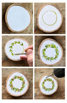 Learn How to Paint Your Own Hand Painted Christmas Wreath Ornament - Steine bema., Learn How to Paint Your Own Hand Painted Christmas Wreath Ornament - Steine bemalen - Painted Christmas Ornaments, Wooden Ornaments, Christmas Wreaths, Hand Painted Ornaments, Christmas Christmas, Nativity Ornaments, Hallmark Christmas, Handmade Ornaments, Christmas Wood Decorations