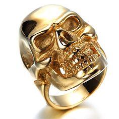 HAMANY Men's Stainless Steel Rings Gold Skull Gothic Vint…
