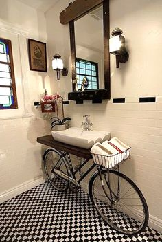 Lavandino Bicicletta Badezimmer Design, Badezimmer Möbel, Vintage Badezimmer,  Diy Möbel, Moderne Wohnung