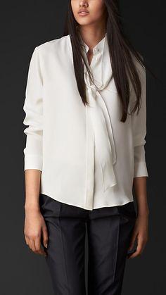 Burberry Prorsum Tie-Detail Silk Shirt