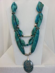 Turquoise Silk Scarf Necklace with Blue Lace Agate Focal Stone, Hand Painted Silk Necklace, Beaded Silk Necklace, Aqua Teal Blue Green Silk by ColorsAndChords on Etsy