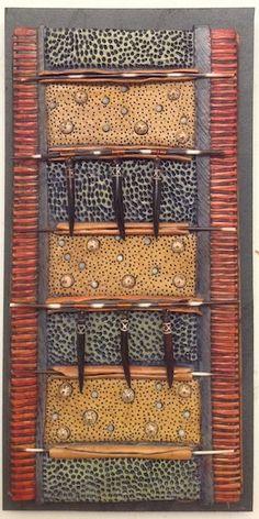 http://bluespiral1.com/ VICKI  GRANT 14067 - Botanical Porcelain & mixed media on slate 8 x 16 in