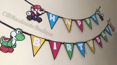 This Super Mario Bros birthday banner will be perfect for you Super Mario party. The banner features Mario himself along with Luigi, Yoshi and Princess Peach! The banner also features multi colored flags and HAPPY BIRTHDAY written out in the iconic Super Mario font. Flag Size: 6 inches Character Size: 7 inches CUSTOMIZABLE: If you would like custom phrasing or colors feel free to contact me.