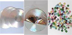 Antes de empezar a decorar con mosaicos, vamos a hacer las teselas, y para ello vamos a emplear CDs reciclados.