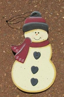 "Wooden - Wired to Hang  1104 - 3 Button Snowman 5"" x 2 1/2"" $1.75"