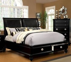 Laguna Hills Contemporary Black Leatherette Solidwood Queen Drawer Bed