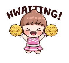 Little Bun : Fangirl Mode Love Cartoon Couple, Cute Love Cartoons, Pop Stickers, Kawaii Stickers, Anime Korea, Korean Expressions, Korean Stickers, Korean Lessons, Korean Language Learning