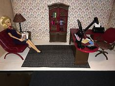 OOAK REALISTIC BARBIE HOME OFFICE SET w/ACCESSORIES 1:6 SCALE FURNITURE