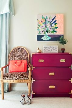 How fantastic is the combo of the leopard chair and that magenta chest of drawers?!!! <3  Cupcakes for Breakfast: Society Social leopard chair