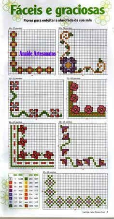 Anaide Ponto Cruz: Primeira parte de gráficos de barrados de canto em ponto cruz…