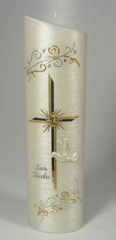 Svíčka * křtící, zdobená zlatem a stříbrem Baptism Candle, Baptism Favors, Baptism Party, Baptism Gifts, Small Christmas Gifts, Christmas Ornaments, Gold Silber, Bottles And Jars, Bottle Art