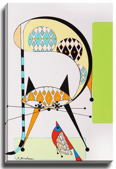 Cat R by Dominic Bourbeau Graphic Art on Wrapped Canvas