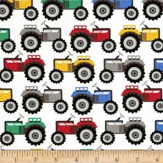 Michael Miller Retro Tractor Trails Primary from @fabricdotcom  From Michael Miller, this cotton print is perfect for quilting, apparel and home decor accents.  Colors include white, black, grey, blue, green, red, yellow and orange.