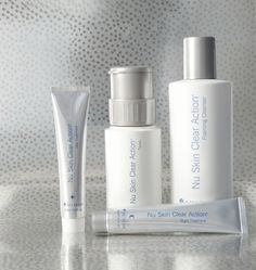 Clear Action System with proprietary ingredients improves past acne signs, unevenness and discoloration, while preventing new acne. Nu Skin, Beauty Box, Beauty Care, Face Care, Skin Care, Mandelic Acid, Glycerin, Facial Wash, Facial Treatment