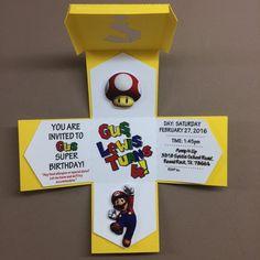 Super Mario Bros Exploding Box Invitation Custom Design by