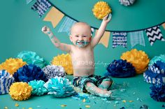Yay for Birthdays! Smash up a cake to celebrate! Baby Cake Smash, 1st Birthday Cake Smash, Boy First Birthday, 1st Birthday Parties, Happy Birthday, Cake Smash Pictures, 1st Birthday Photoshoot, First Birthday Pictures, Birthday Themes For Boys