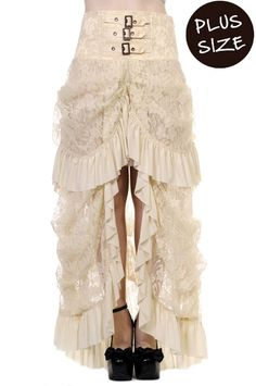 High Waist Lace Bustle Skirt by Banned Plus Size Goth Steampunk 16 18 20 White #Banned #VictorianHighWaistGoth #Party