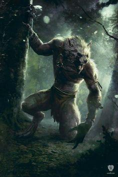 Werewolf Art by The Witcher 3 Dark Fantasy Art, Fantasy Artwork, Foto Fantasy, Dark Art, Witcher Art, The Witcher 3, Fantasy Creatures, Mythical Creatures, Dark Creatures