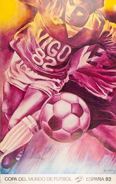 Football World Cup, 1982 - original vintage poster by Jacques Monory listed on… Olympia, 1982 World Cup, Fifa World Cup, Ski Posters, Travel Posters, Sports Posters, Posters Vintage, Football Art, Football Wallpaper