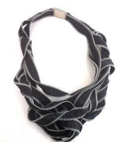 Journey II necklace, made from black and silver zippers. Kate Cusack for Gallery Lulo.