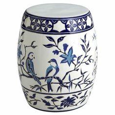 Blue & White Bird Garden Stool