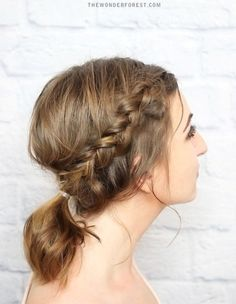 braided updo and pony for medium hair