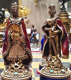 """""""The King and The Queen"""" - - - * An Austro-Hungarian silver, gilt-metal, enamel and mahogany chess set. Austro Hungarian, Chess, Enamel, King, Queen, Statue, Metal, Silver, Beautiful"""