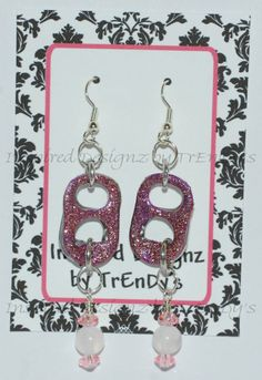 Upcycled Soda Pop Aluminum Can Pull Tab Pink Metallic Glitter Dangling Earrings by InspiredDesignzByJK