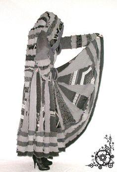 "Elf Coat ""Steampunk"" Size Extra Large XL Priestess Length Medium Gray & Charcoal Dark Gothic Renaissance Medieval Cloak Long Duster Sweater"