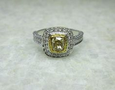 Champagne Diamond Ring 14K Solid Gold Sparkling by yunijewels