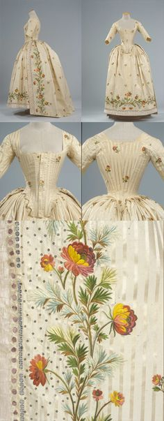 Robe à l'anglaise ca. 1780, Italy. Peking striped ivory silk, embroidered in silk thread polychrome with branches of flowers with applications of glitter of glass and metal and festooned with a ruched silk gauze, with pockets cut diagonally on the sides. Views: Side, Back, close up of bodice front and back, and detail of the embroidery. | Galleria del Costume di Palazzo Pitti