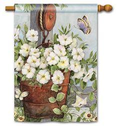Petunias on Pulley House Flag - x - BreezeArt - Dekor Blossom Garden, Garden Flag Stand, Yard Flags, Farmhouse Garden, Pretty Backgrounds, Outdoor Flags, Outdoor Decor, Patio Umbrellas, Fire Pit Backyard