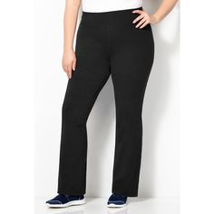 Avenue Solid Bootcut Yoga Pant ($6.88) ❤ liked on Polyvore featuring plus size women's fashion, plus size clothing, plus size activewear, plus size activewear pants, black, plus size, womens plus size activewear and plus size sportswear