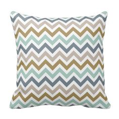 Stylish and chic square accent pillow design features a bold chevron striped pattern and earthy ombre shades of jade green, olive green, slate blue / gray, and taupe / beige, paired with white
