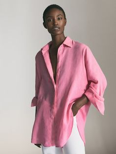 Massimo Dutti - Women - linen oversized blouse - Pink - S Polo Shirt Girl, Oversized Blouse, Blazers, Elegant Outfit, New Wardrobe, Contemporary Fashion, Couture, Shirts For Girls, Shirt Blouses