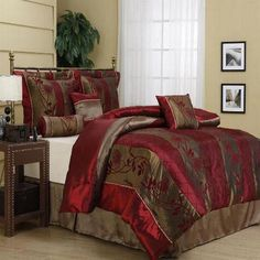 Dress up your bed with this luxurious seven-piece comforter set. The set, done in rich hues of burgundy and gold, comes with all you need to get a cohesive, designer look, including bedskirt, comforter, two shams, and three accent pillows.