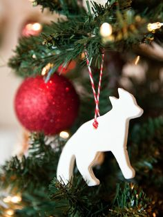salt dough ornaments with baker's twine (natural elements: animals, leaves, stars)  #christmas