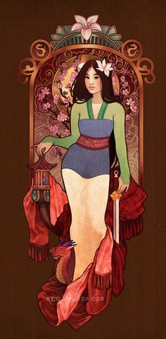 """""""Who I Am Inside"""" This is the second in a series I'm doing where I'm combining princesses with the seasons pieces by Alphonse Mucha. I'm trying to tweak the outfits a bit to make them more my own/to..."""
