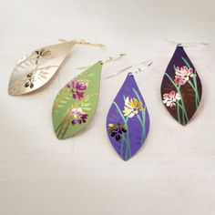 Iris Flower earrings available from Holly Yashi