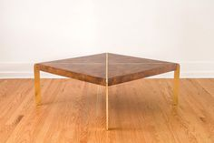 Vintage Milo Baughman Brass and Burlwood Square Coffee Table - Mid Century on Etsy, $10,965.52