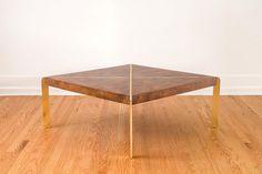 Vintage Milo Baughman Brass and Burlwood Square Coffee Table - Mid Century on Etsy, $10,965.52