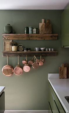 Home Interior Ideas For the love of green. - Copper Kitchen Interior Ideas For the love of green. Copper Kitchen Decor, Home Decor Kitchen, Kitchen Interior, New Kitchen, Home Kitchens, Copper Kitchen Accents, Copper Decor, Kitchen Furniture, Kitchen Wood Shelves