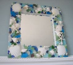 Sea glass, shell and starfish mirror.