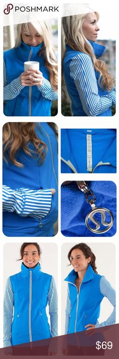 """Lululemon Daily Yoga 2-Way Zip Luon Jacket ~ Lightweight, STYLISH, easy to wear, """"Beaming Blue"""" jacket.   ✨Pre-loved MINT condition  ✨MSRP: $128.00 ✨Size: 10   ➰Blue and white striped pattern ➰High collar with zipper garage keeps your neck warm ➰2-way full zipper ➰Secure 2 zipper side hand pockets with ➰Logo pull hardware  ➰Moisture wicking  ➰4-way stretch luon fabric ➰Thumbholes aid in keeping your sleeves in place  ➰Preshrunk   🏃🏼♀️Chest approx. 22"""" across  🏃🏼♀️Length approx. 29""""…"""