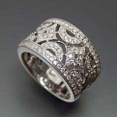 18K WHITE GOLD 1.00 TCW DIAMONDS LACE DESIGN WIDE BAND RING - SIZE 6.5 – Gold Stream Boutique
